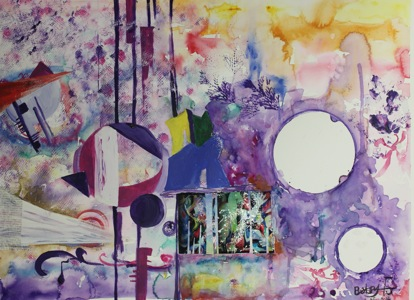 """1. Title :Ms. Tomorrow 2. Size  : 60cm X 50Cm 3. Genre : Acrylic 4. Artist Name: Betsy Fu 傅臻 5. School & Grade: Magee Secondary School Grade 10  6. Artist Statement 小画家简介:   Live in dreams. Embrace mystery. What we have today is not necessary what we will have tomorrow. Never live in your memories but paint your own """"Ms.Tomorrow""""."""