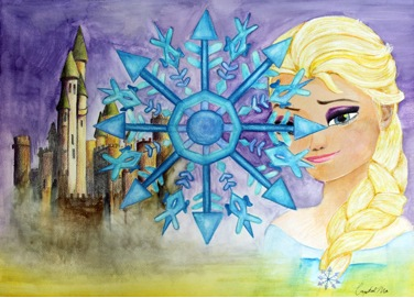 1 .Title :   Frozen 冰雪奇缘 2, Size  :   50CM X40 CM 3. Genre : water Color 4. Artist Name : Crystal Ma马嘉怡   5. School & Grade : York House School Grade 10 6. Artist Statement:  The inspiration for this painting was the movie Frozen, with the main character and her castle in the background. The snowflake is the representation of this movie, as each snowflake is unique and the snowflake represents that this movie is different and unique from the other Disney movies. This painting consists of the 3 most important components from the movie; the main character, Elsa, her home, the castle, and the snowflake which represents the diversity and the uniqueness of the movie.
