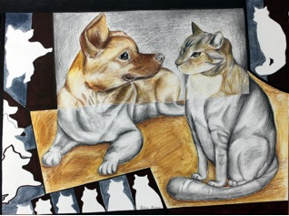 1. Title    : Friends 朋友    2. Size    :  50 CM X 40CM 3. Genre  :  Color Pencil 4. Artist Name :  Helen Huang 黄雨晨  5. School & Grade: Lord Byng Secondary Grade 9 6. Artist Statement: Helen has been a passionate young painter since the age of 4. She won an award at the 2nd World Cup Live Painting in 2013. Using colored pencils and black and white as background contrast, Helen wants to show that even though dogs and cats are seemingly different in nature and body, they can still be good friends. This painting is a small statement on the beauty of harmony in humanity. Helen is excited to be one of the young artists in the event. Not only she can utilize her artistic talent to help those who are in need, it is also extremely gratifying for her knowing that she can put her talent to good use. She hopes that she can participate in more charitable events in the future.
