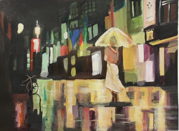 1. Title  :Rainy Night 雨夜     2. Size  :  50 CM X 40CM 3. Genre :  Acrylic 4. Artist Name :  Spencer Chen 陈毅超 5. School & Grade : Accepted by the The Art Institute of Chicago 6. Artist Statement :     Using acrylic paint to paint the streetscape and the melancholic mood of a Rainy Night is very challenging!    Silver medalist in the 1st Youth World Cup Live Painting Competition;    Winner of the best composition in the 2nd Youth World Cup Live    Painting Competition.    Accepted by the Art Institute of Chicago.