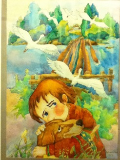 1.Title : Alone 2, Size: 50X40CM 3. Genre : Watercolour on paper  4. Artist Name : Sandra Zheng 5. School & Grade: Lord Byng Secondary Grade 11 6. Artist Statement : In this piece I wanted to create the ubiquitous emotion of solitude that numerous individuals may relate to. This hollow feeling is created by the young boy's lingering eyes towards the house and the protective arms around the dog as the only companion left for him. This feeling is broken when he is drawn by the appearance of the birds and believes that he can strive forward by pursuing his focus towards his future like the birds.
