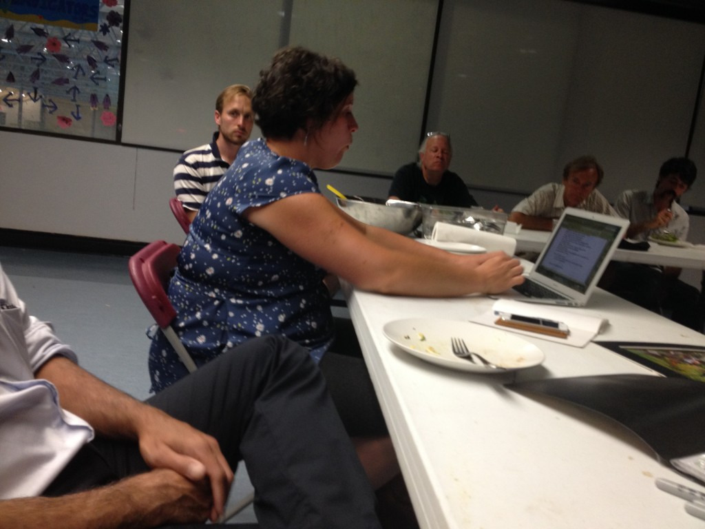 Cinthia conducting the first meeting with community members at Kitsilano Community Centre on July 30th, 2014