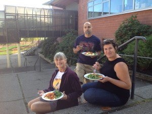 (from Left) Rita, Hemant, and Cinthia enjoying a potluck after working in the garden, Sep 27th, 2014