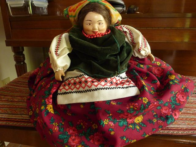 "The Ukrainian grandmother"" or ""Baba"" is made by her mother, Joan Nakonechny, and is know part of the Ukrainian Museum of Canada's (Saskatoon) collection."