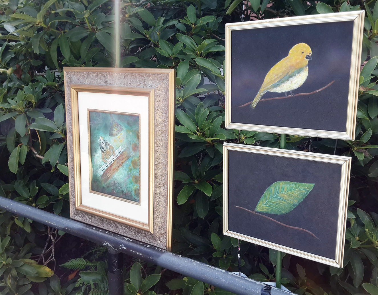 Sylvia Andrews' college artworks came to life against the garden.